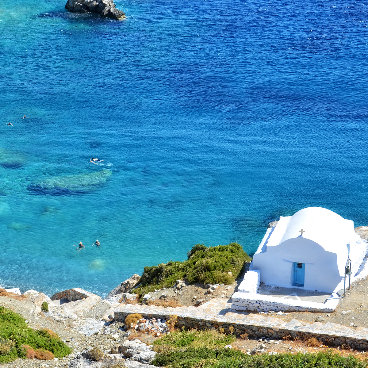 Agia Anna Beach on Amorgos island Cyclades Greece