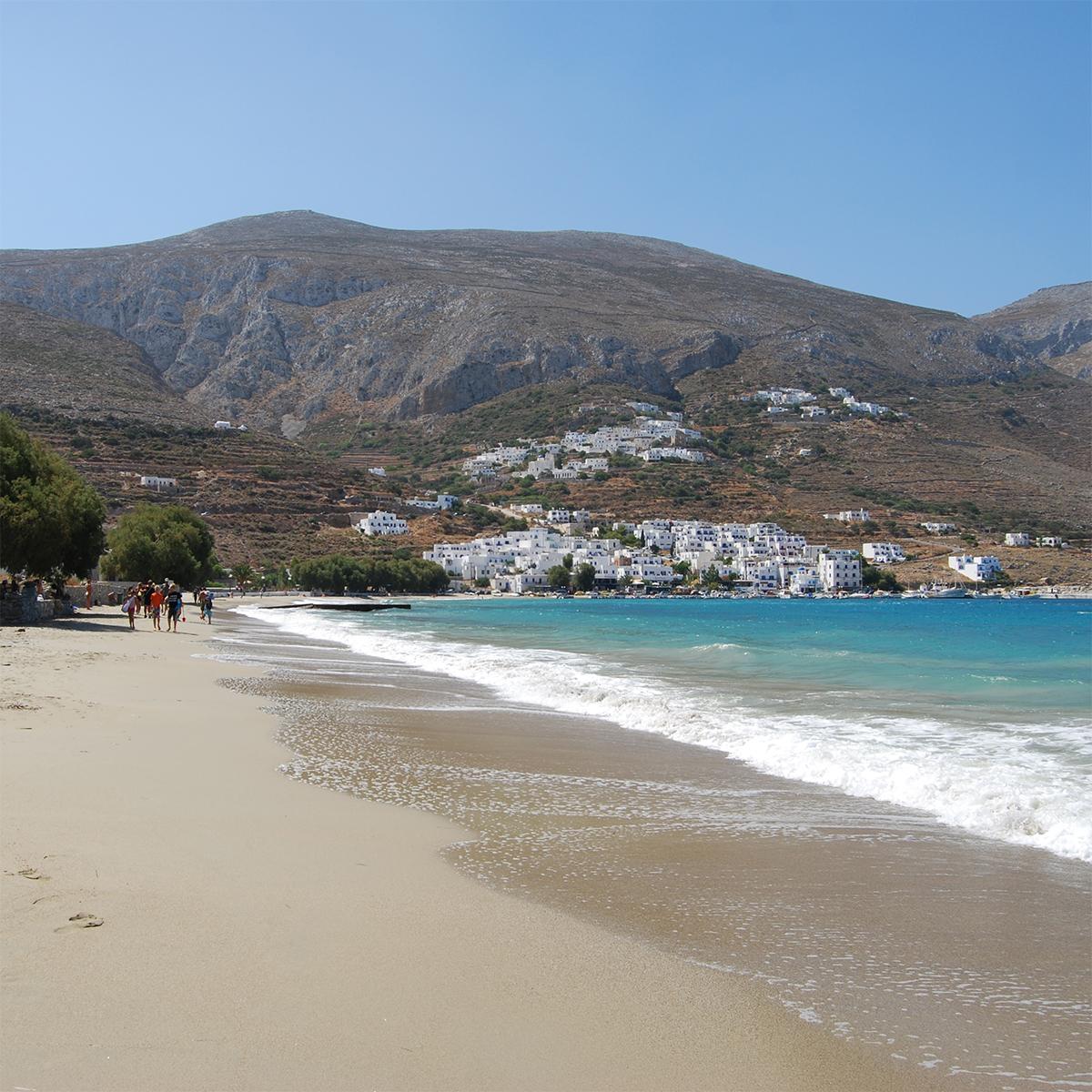 Aegiali Beach on Amorgos island Cyclades Greece